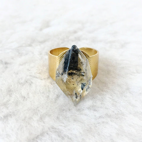 Tibetan Quartz Brass Ring