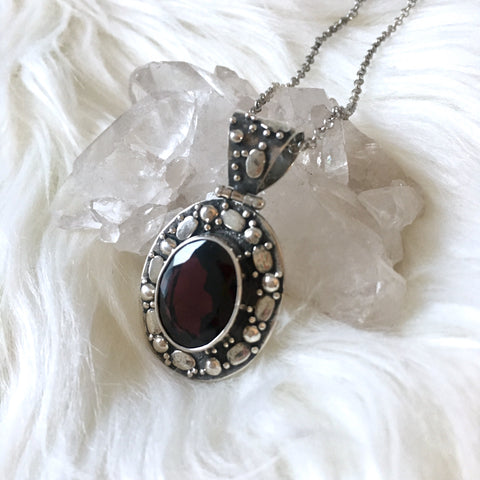 Sterling Silver Red Garnet Necklace