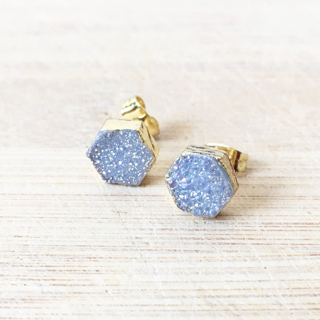 Grey Hexagon Agate Druzy Earrings