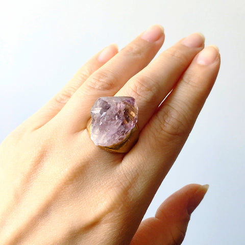 Amethyst Brass Ring