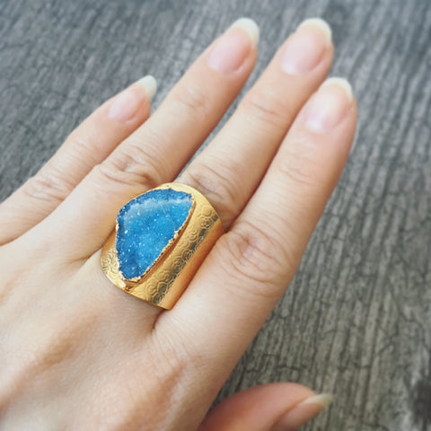 Agate Druzy Ring (Blue)