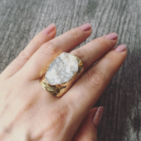 Agate Druzy Ring (White)
