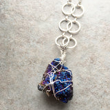 Blue Titanium Agate Druzy Necklace