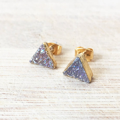 Grey Triangle Druzy Crystal Earrings