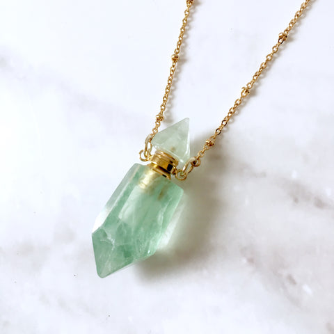 Green Fluorite essential oil bottle necklace