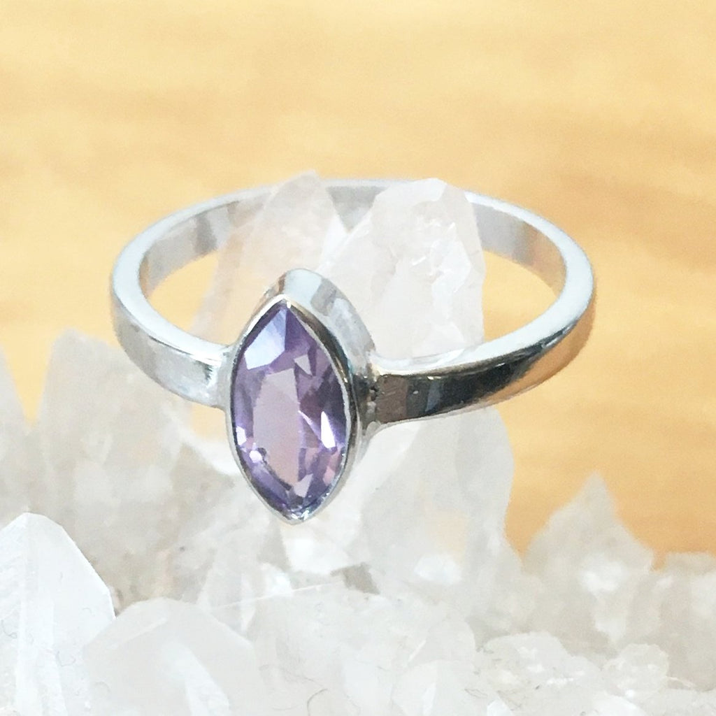 Sterling Silver Amethyst Ring Marquise cut