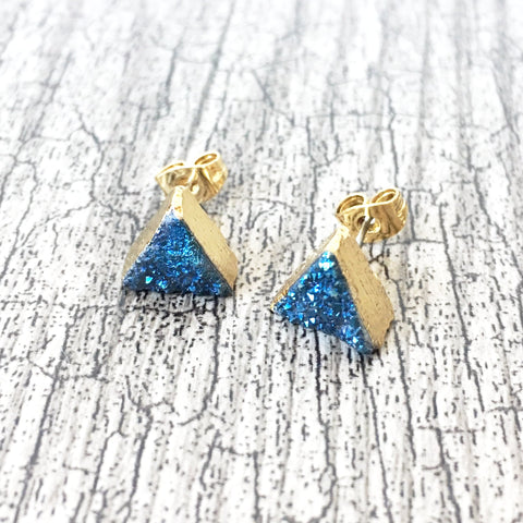 Blue Triangle Druzy Crystal Earrings