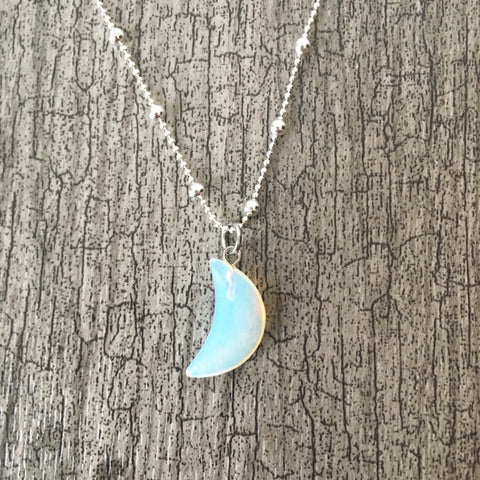 Opalite Crescent Moon Sterling Silver Necklace