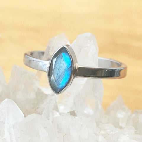 Sterling Silver Marquise Labradorite Ring