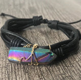 Titanium Quartz Crystal Leather Bracelet