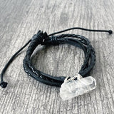 quartz crystal leather bracelet