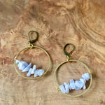 Blue Lace Agate circle earrings