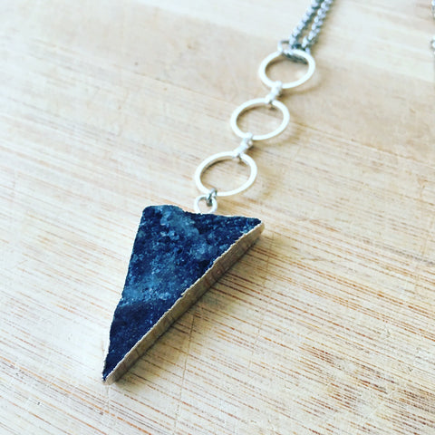 Triangle Agate Druzy Necklace (Black)