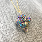 Rainbow Titanium Quartz Druzy Necklace