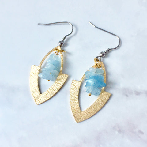 Aquamarine brass earrings