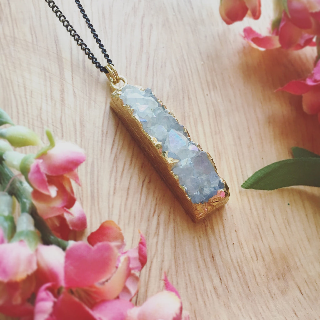 Grey Rectangle Agate Druzy Necklace