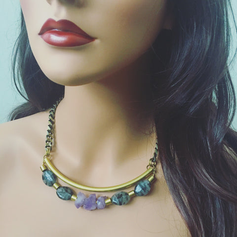 Amethyst Brass Tube Necklace
