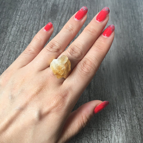 Citrine Brass Ring