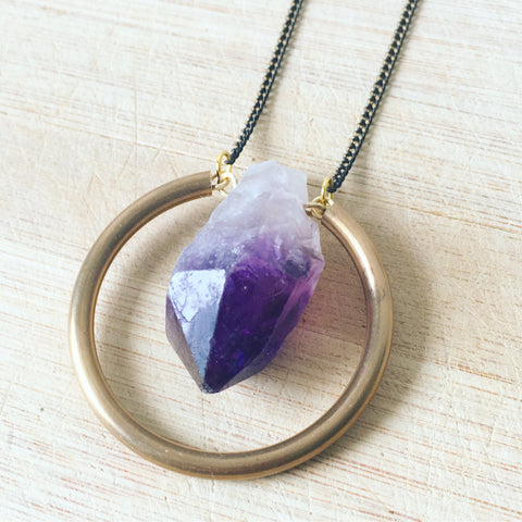 Minimalist hoop Amethyst Necklace