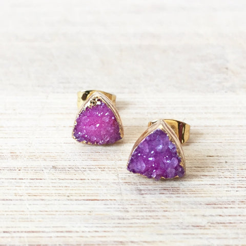 Triangle Pink Agate Druzy Earrings