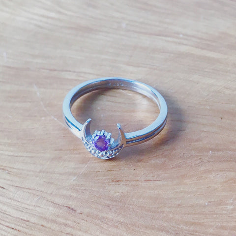 Sterling Silver Amethyst Moon Stack Ring