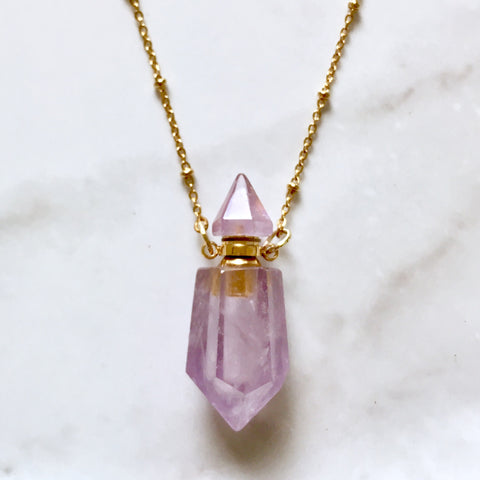 Amethyst essential oil bottle necklace