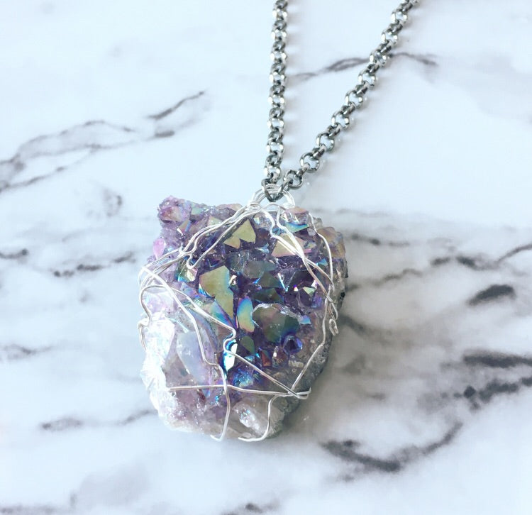 Aura Quartz Druzy Necklace