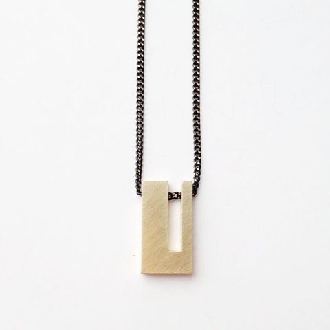 geometric brass necklace unisex