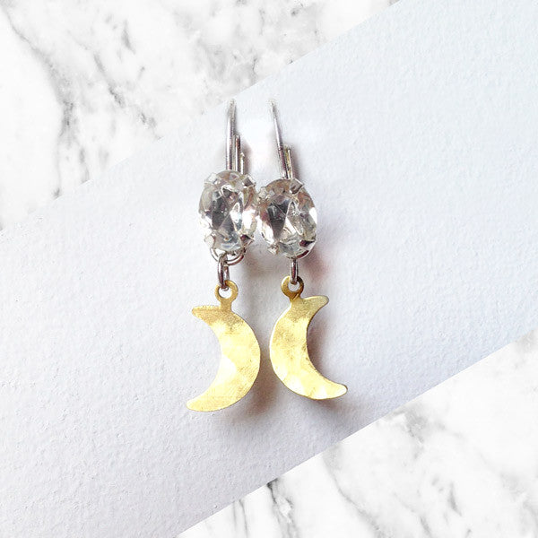 Brass Moon Crystal earrings