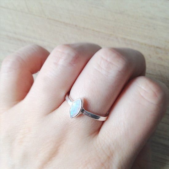 Sterling Silver Marquise Moonstone Ring