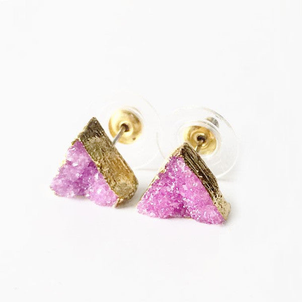 Triangle Crystal Pink Agate Druzy Earrings