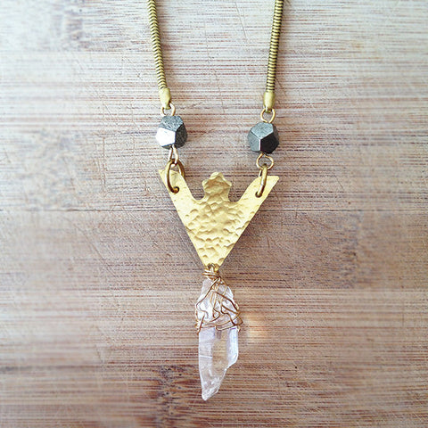 Rise Necklace (clear quartz)