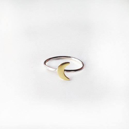 Moon Stack Ring (Sterling Silver + Brass)