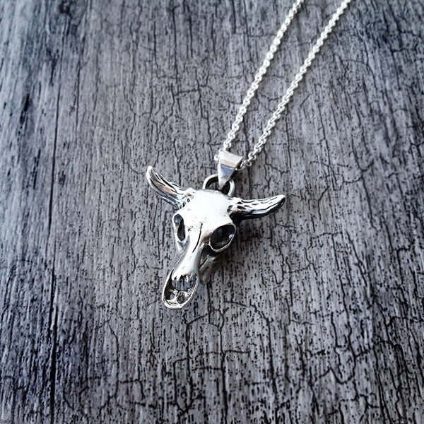 Sterling Silver Bull Skull Necklace