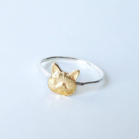 Cat Face Ring (Sterling silver + Brass)
