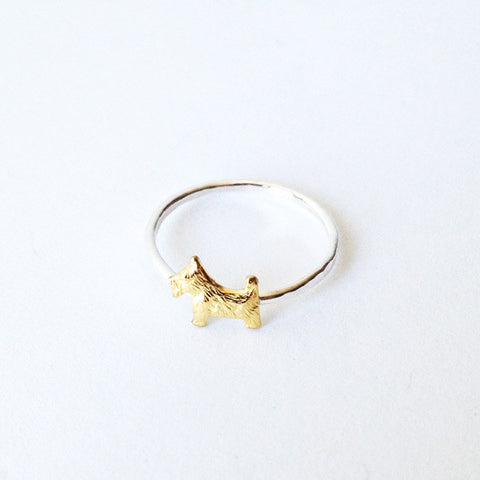 West Terrier Dog Ring (sterling silver + Brass)