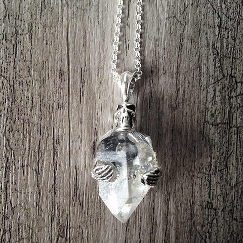 Sterling Silver Skeleton Crystal necklace 003