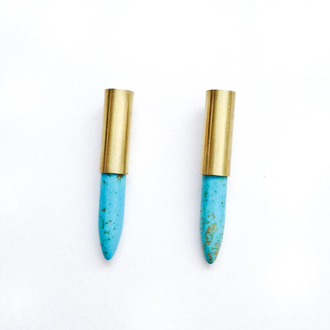 Spike Tube Earrings (turquoise)