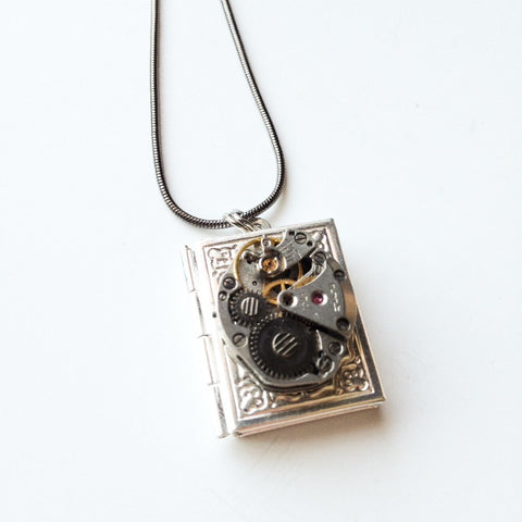 Steampunk Book Locket Necklace