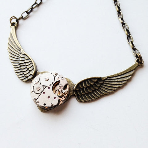 Steampunk Wings of Love necklace