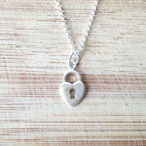 Sterling Silver Lock Heart Necklace