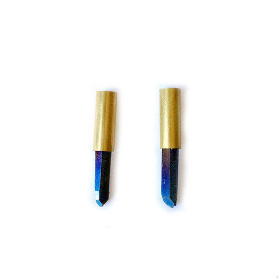 Titanium Quartz Tube Earrings (Blue)