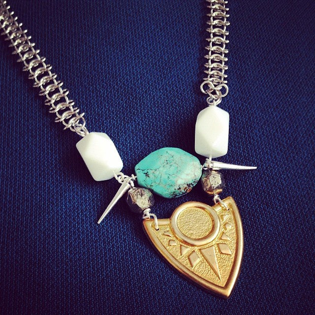 Warrior Shield Necklace (Turquoise)