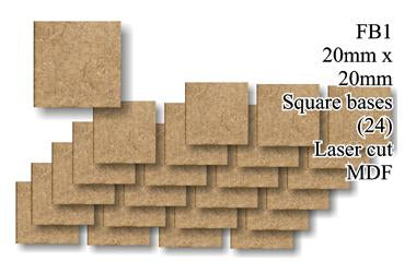 FB001 - 20mm x 20mm Square Infantry MDF (24 bases)
