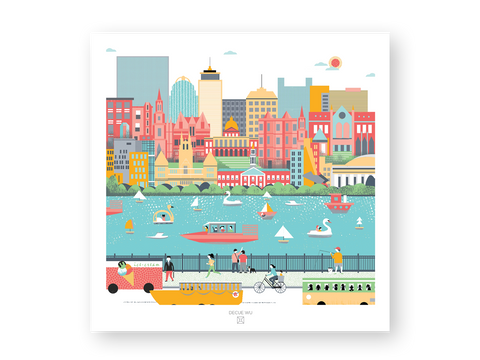 City illustration - Boston