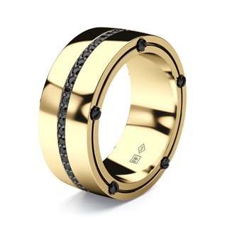 FRANKLIN  Mens Gold Wedding Band with Black Diamonds