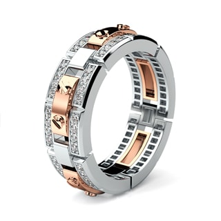 REX two-tone Gold Mens Wedding Band with Diamonds