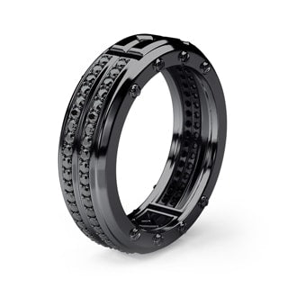 SAN LORENZO Mens Black Rhodium Gold Wedding Band with Black Diamonds
