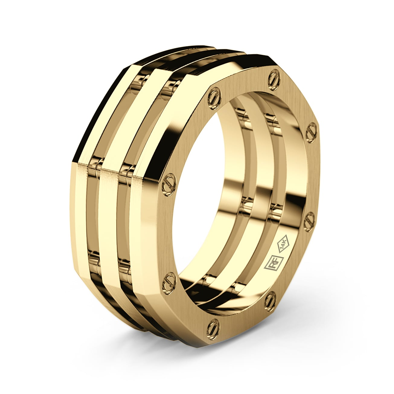 GRANT Mens Gold Wedding Band
