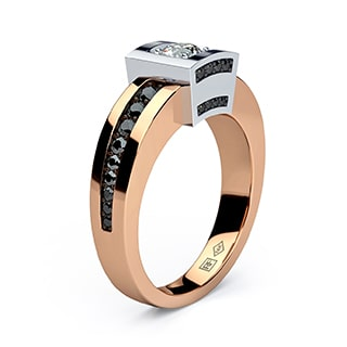 vulture Gold Mens Wedding Band with black Diamonds